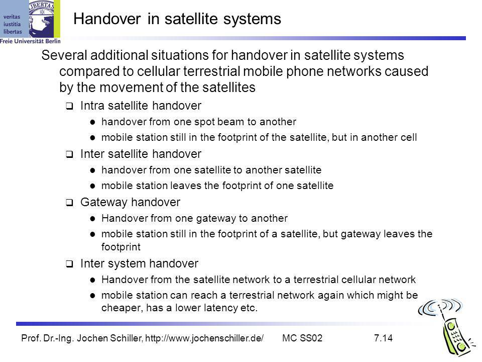 Prof. Dr.-Ing. Jochen Schiller, http://www.jochenschiller.de/MC SS027.14 Handover in satellite systems Several additional situations for handover in s