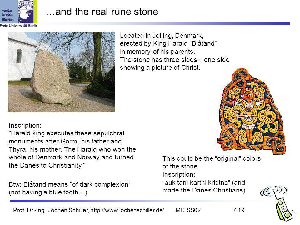 Prof. Dr.-Ing. Jochen Schiller, http://www.jochenschiller.de/MC SS027.19 …and the real rune stone Located in Jelling, Denmark, erected by King Harald
