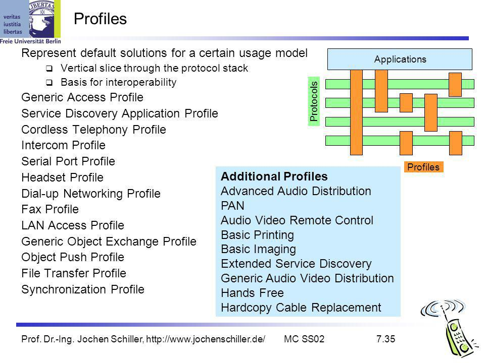 Prof. Dr.-Ing. Jochen Schiller, http://www.jochenschiller.de/MC SS027.35 Profiles Represent default solutions for a certain usage model Vertical slice