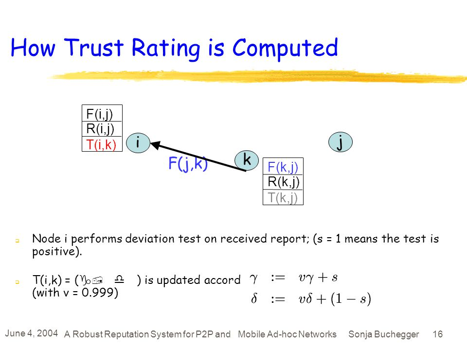 June 4, 2004 A Robust Reputation System for P2P and Mobile Ad-hoc Networks Sonja Buchegger 15 How Trust is Made Node i maintains a trust rating T(i,k): a rating of k as reputation agent T(i,k) expresses how much k deviates from majority opinion, according to i Let T(i,k)=B(, ); i decides that k is (with t =0.25 to 1) i k j F(j,k) F(i,j) R(i,j) T(i,k) F(k,j) R(k,j) T(k,j) Trustworthy Untrustworthy