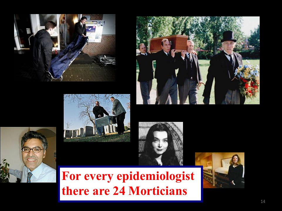 14 For every epidemiologist there are 24 Morticians