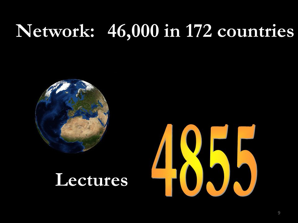 9 Lectures Network: 46,000 in 172 countries