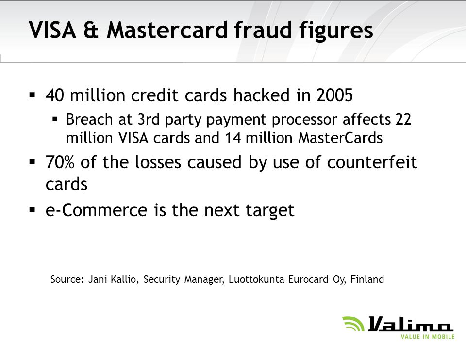 VISA & Mastercard fraud figures 40 million credit cards hacked in 2005 Breach at 3rd party payment processor affects 22 million VISA cards and 14 mill
