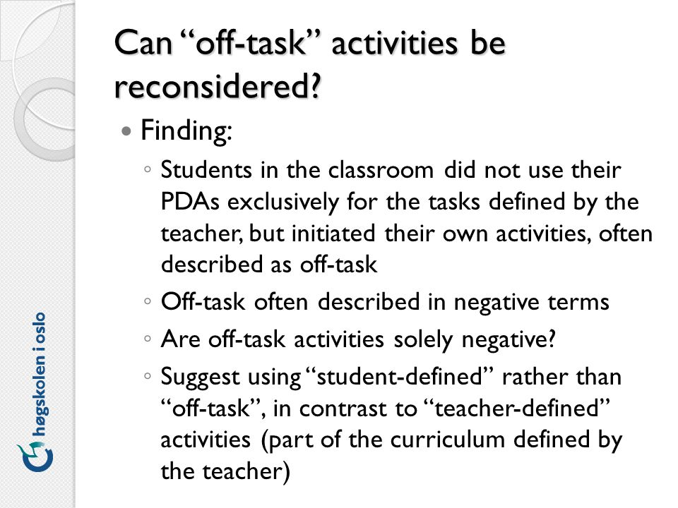 Can off-task activities be reconsidered.