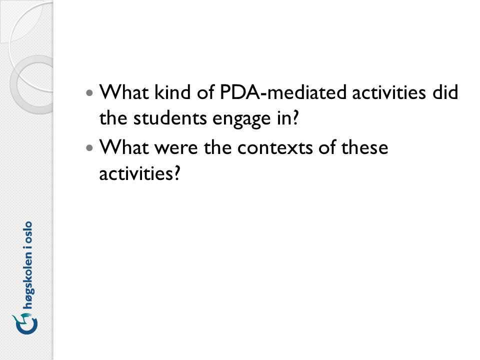 What kind of PDA-mediated activities did the students engage in.