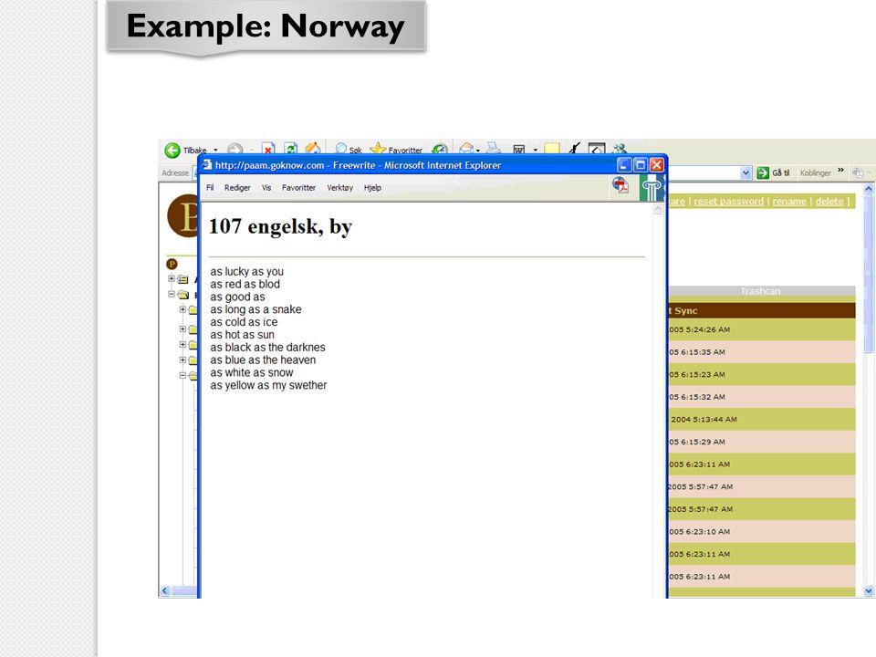 Example: Norway