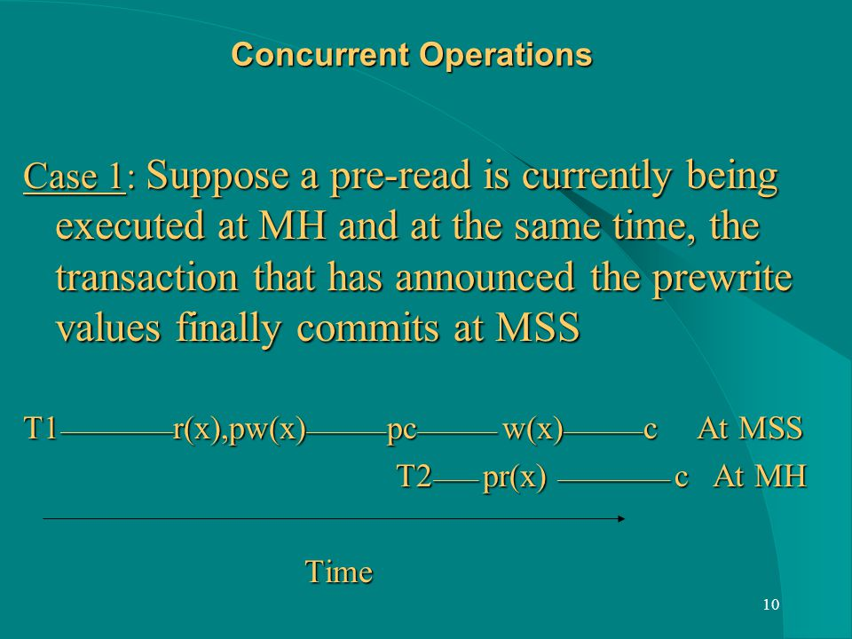 10 Concurrent Operations Case 1: Suppose a pre-read is currently being executed at MH and at the same time, the transaction that has announced the prewrite values finally commits at MSS T1 __________ r(x),pw(x) _______ pc _______ w(x) _______ c At MSS T2 ____ pr(x) __________ c At MH T2 ____ pr(x) __________ c At MH Time Time