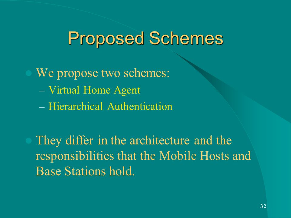 32 Proposed Schemes We propose two schemes: – Virtual Home Agent – Hierarchical Authentication They differ in the architecture and the responsibilities that the Mobile Hosts and Base Stations hold.