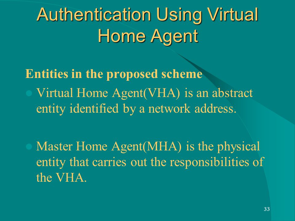 33 Authentication Using Virtual Home Agent Entities in the proposed scheme Virtual Home Agent(VHA) is an abstract entity identified by a network address.
