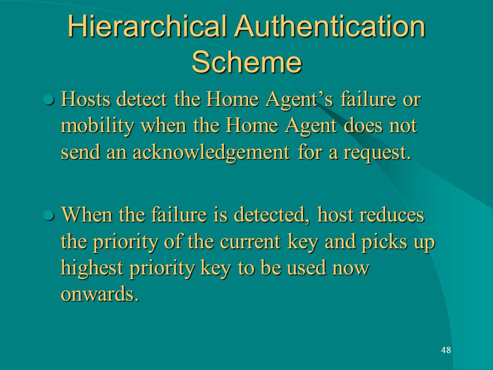 48 Hierarchical Authentication Scheme Hosts detect the Home Agents failure or mobility when the Home Agent does not send an acknowledgement for a request.