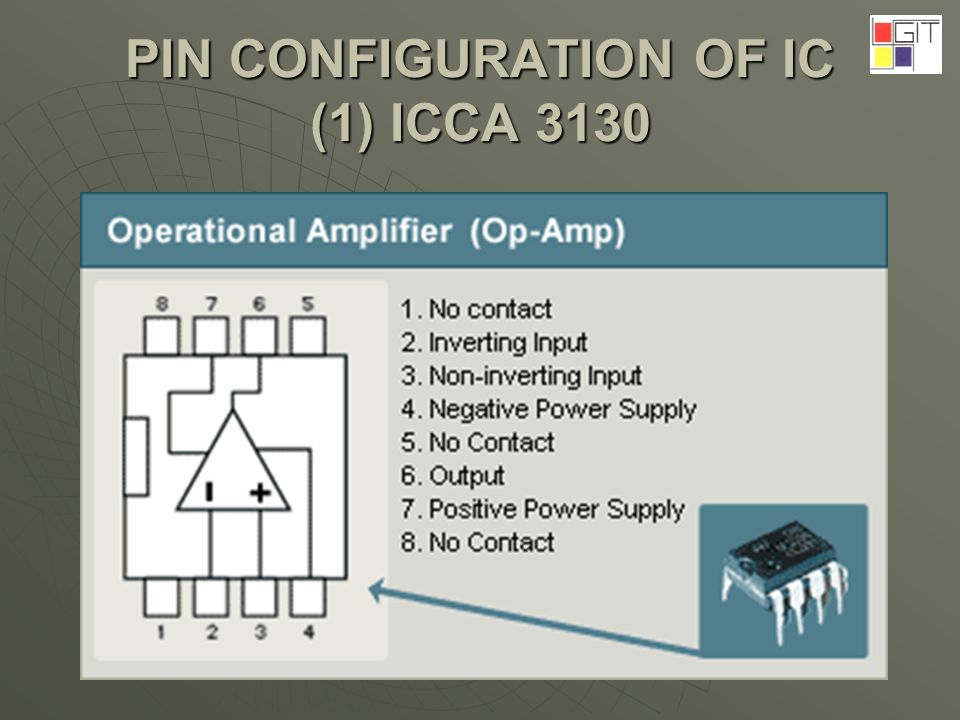 PIN CONFIGURATION OF IC (1) ICCA 3130