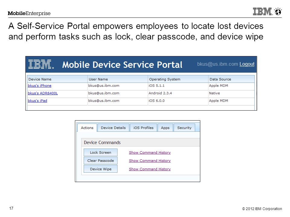 © 2012 IBM Corporation 17 A Self-Service Portal empowers employees to locate lost devices and perform tasks such as lock, clear passcode, and device w