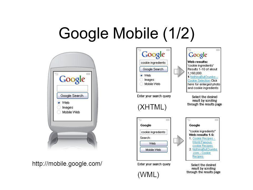Google Mobile (1/2) http://mobile.google.com/ (XHTML) (WML)