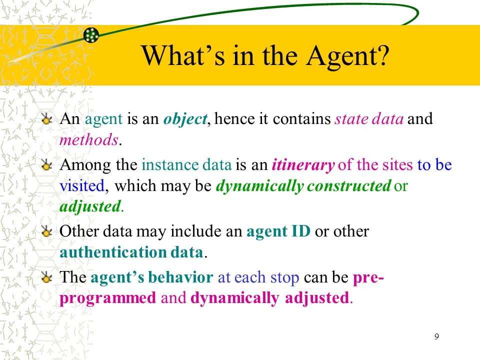 9 Whats in the Agent? An agent is an object, hence it contains state data and methods. Among the instance data is an itinerary of the sites to be visi