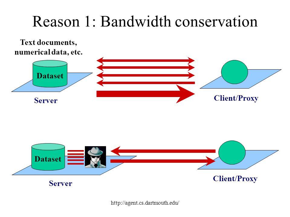 http://agent.cs.dartmouth.edu/ Reason 1: Bandwidth conservation Server Dataset Text documents, numerical data, etc. Client/Proxy Server Dataset