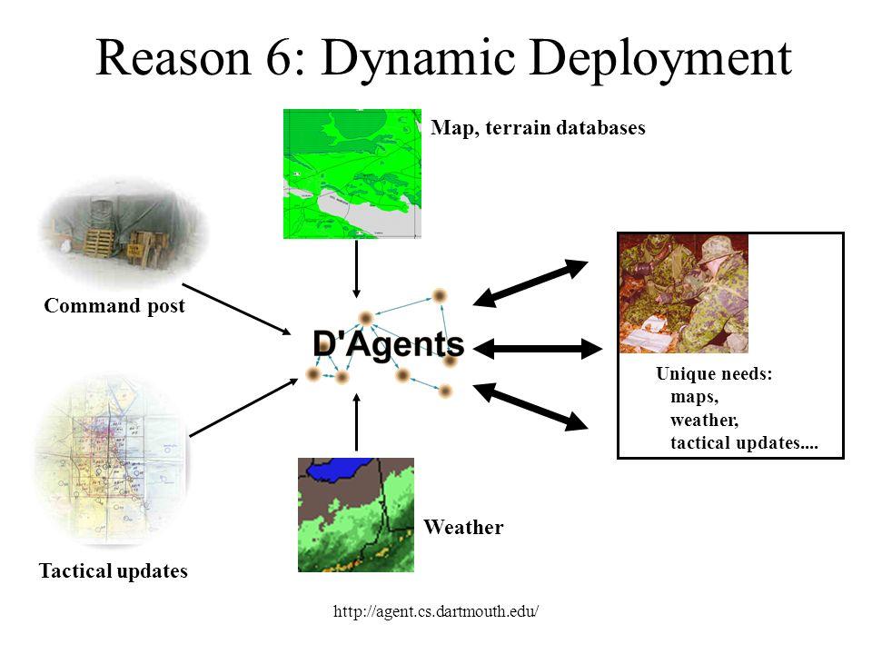 http://agent.cs.dartmouth.edu/ Unique needs: maps, weather, tactical updates.... Command post Tactical updates Map, terrain databases Weather Reason 6