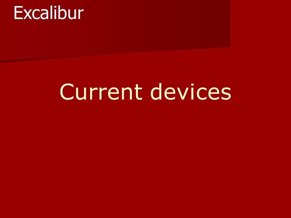 Current devices Excalibur