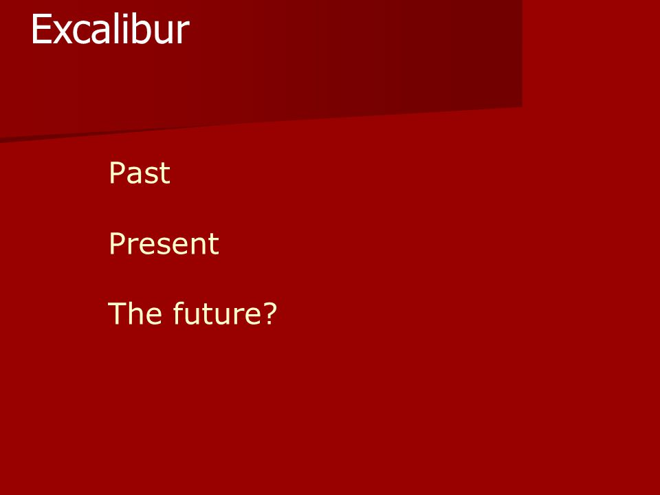 Past Present The future? Excalibur