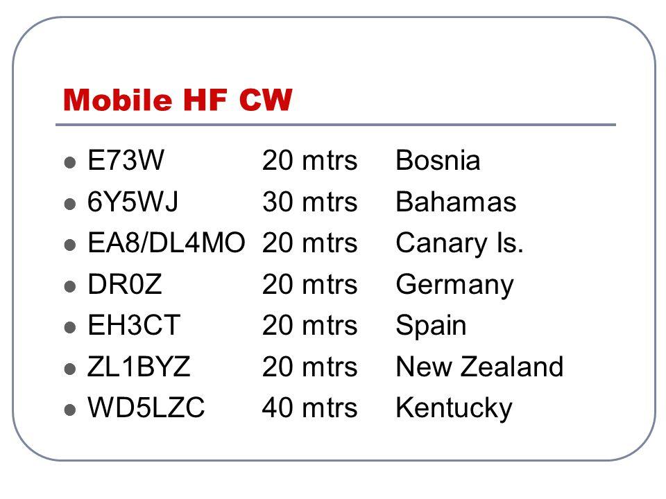 Mobile HF CW E73W20 mtrsBosnia 6Y5WJ30 mtrsBahamas EA8/DL4MO20 mtrsCanary Is.