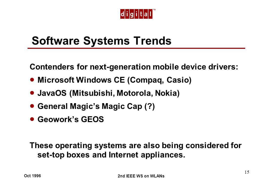 TM 2nd IEEE WS on WLANs Oct 1996 15 Software Systems Trends Contenders for next-generation mobile device drivers: Microsoft Windows CE (Compaq, Casio) JavaOS (Mitsubishi, Motorola, Nokia) General Magics Magic Cap ( ) Geoworks GEOS These operating systems are also being considered for set-top boxes and Internet appliances.