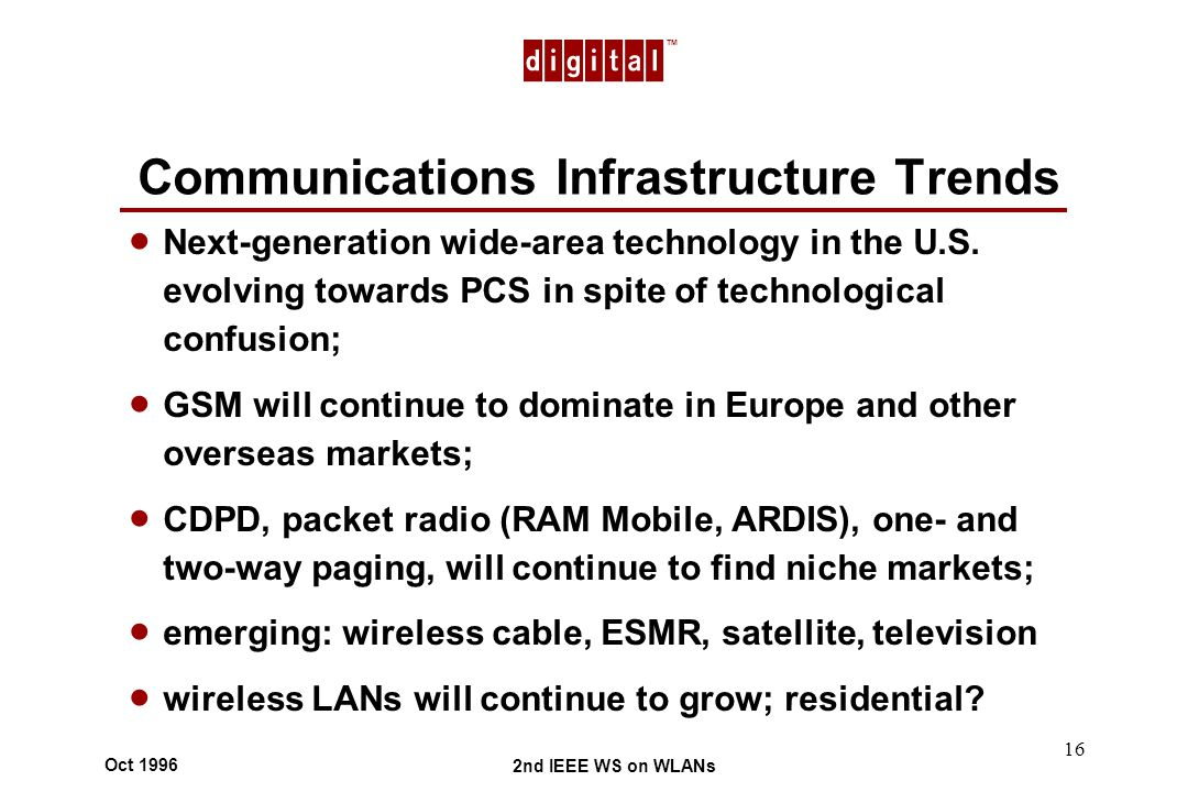 TM 2nd IEEE WS on WLANs Oct 1996 16 Communications Infrastructure Trends Next-generation wide-area technology in the U.S.