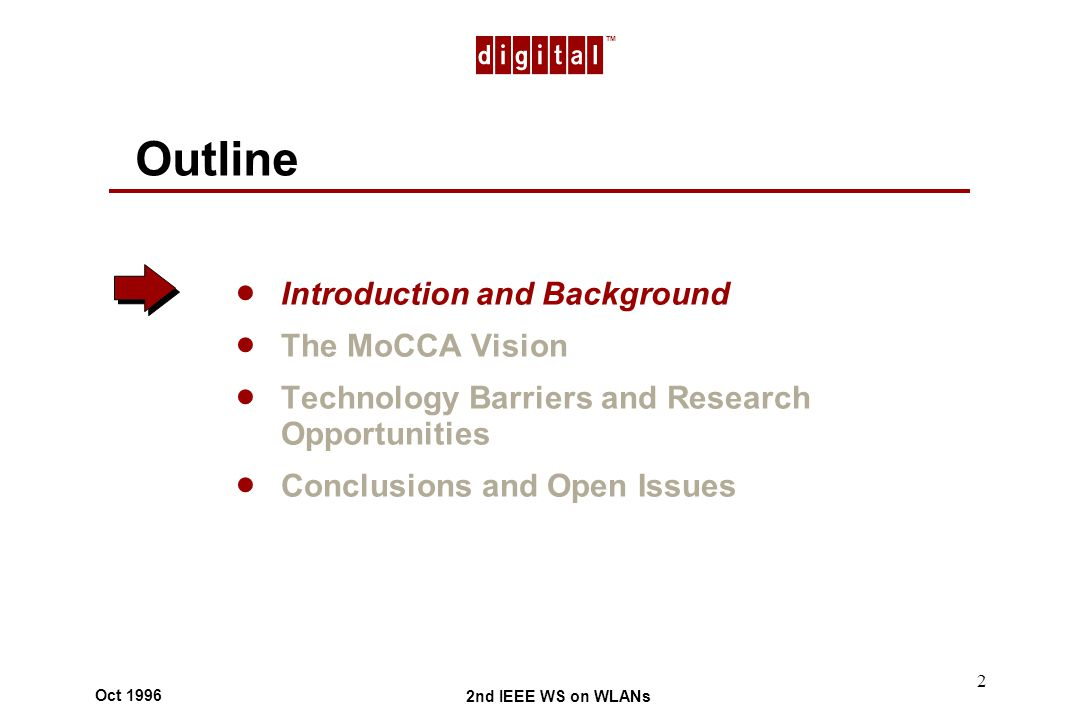 TM 2nd IEEE WS on WLANs Oct 1996 2 Outline Introduction and Background The MoCCA Vision Technology Barriers and Research Opportunities Conclusions and Open Issues