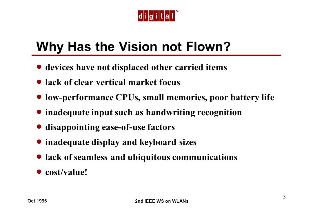 TM 2nd IEEE WS on WLANs Oct 1996 3 Why Has the Vision not Flown.