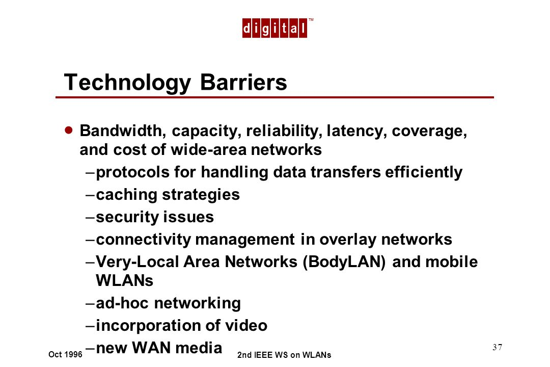 TM 2nd IEEE WS on WLANs Oct 1996 37 Technology Barriers Bandwidth, capacity, reliability, latency, coverage, and cost of wide-area networks –protocols for handling data transfers efficiently –caching strategies –security issues –connectivity management in overlay networks –Very-Local Area Networks (BodyLAN) and mobile WLANs –ad-hoc networking –incorporation of video –new WAN media