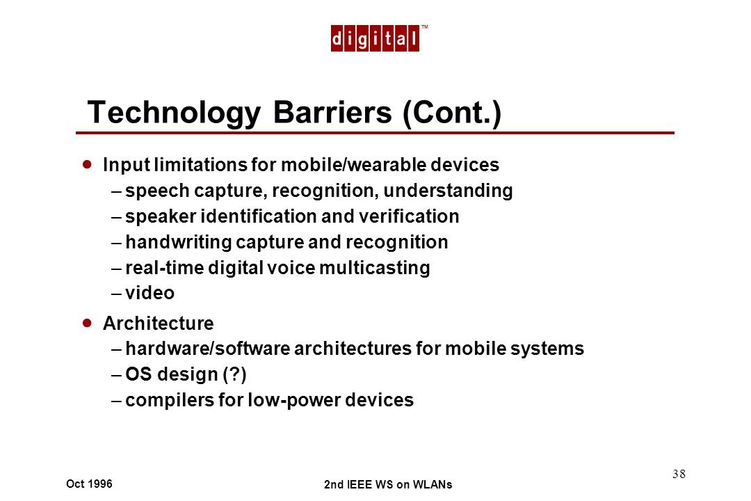 TM 2nd IEEE WS on WLANs Oct 1996 38 Technology Barriers (Cont.) Input limitations for mobile/wearable devices –speech capture, recognition, understanding –speaker identification and verification –handwriting capture and recognition –real-time digital voice multicasting –video Architecture –hardware/software architectures for mobile systems –OS design ( ) –compilers for low-power devices