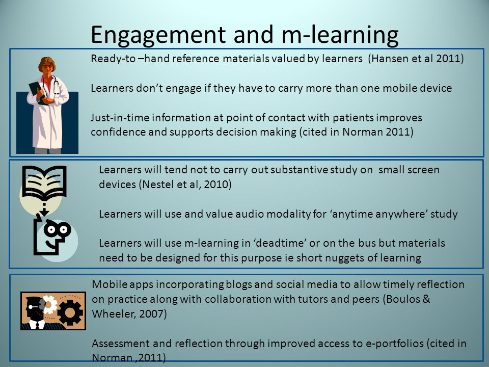 Engagement and m-learning Ready-to –hand reference materials valued by learners (Hansen et al 2011) Learners dont engage if they have to carry more than one mobile device Just-in-time information at point of contact with patients improves confidence and supports decision making (cited in Norman 2011) Learners will tend not to carry out substantive study on small screen devices (Nestel et al, 2010) Learners will use and value audio modality for anytime anywhere study Learners will use m-learning in deadtime or on the bus but materials need to be designed for this purpose ie short nuggets of learning Mobile apps incorporating blogs and social media to allow timely reflection on practice along with collaboration with tutors and peers (Boulos & Wheeler, 2007) Assessment and reflection through improved access to e-portfolios (cited in Norman,2011)