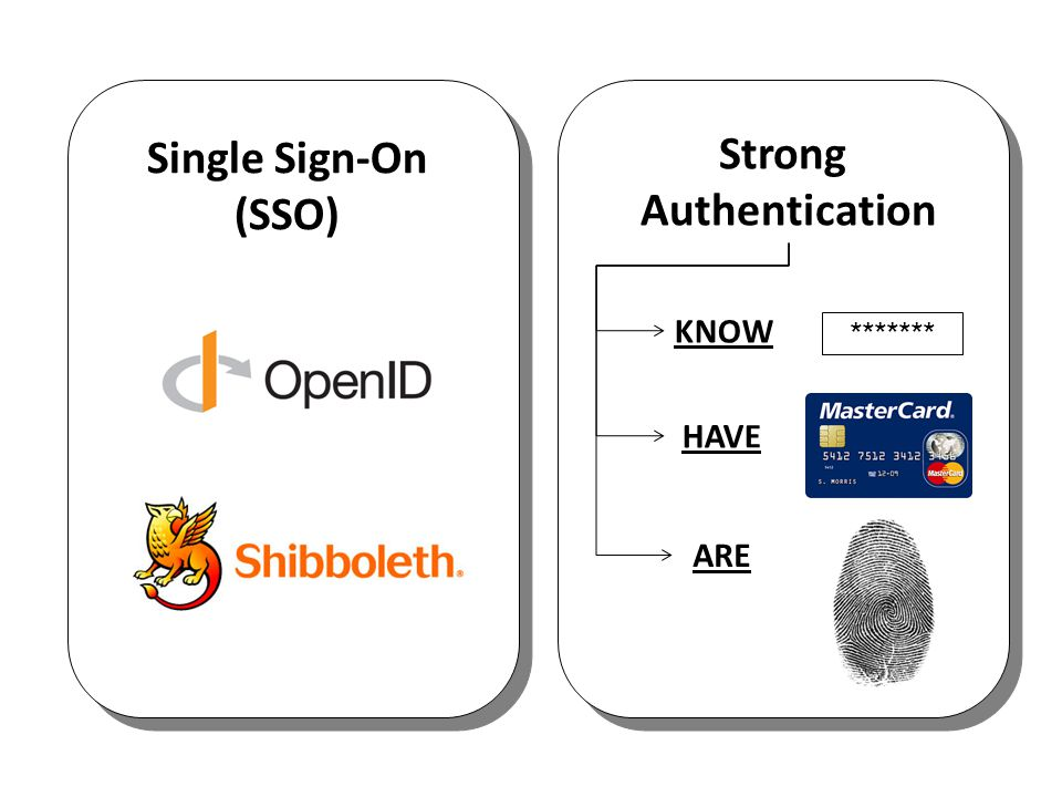 Single Sign-On (SSO) Strong Authentication KNOW ******* HAVE ARE