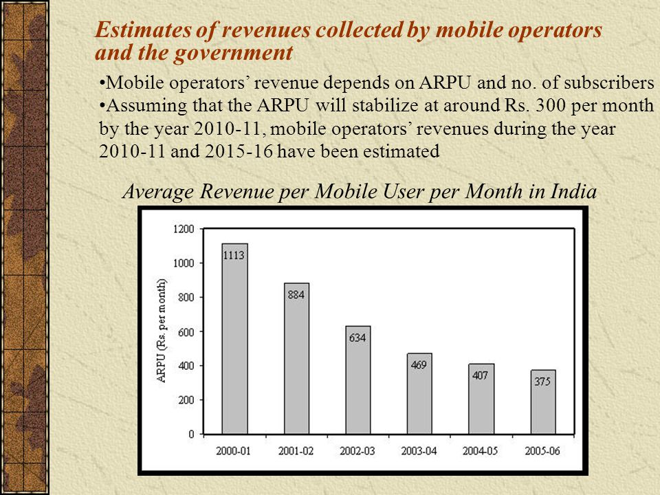 Estimates of revenues collected by mobile operators and the government Average Revenue per Mobile User per Month in India Mobile operators revenue depends on ARPU and no.