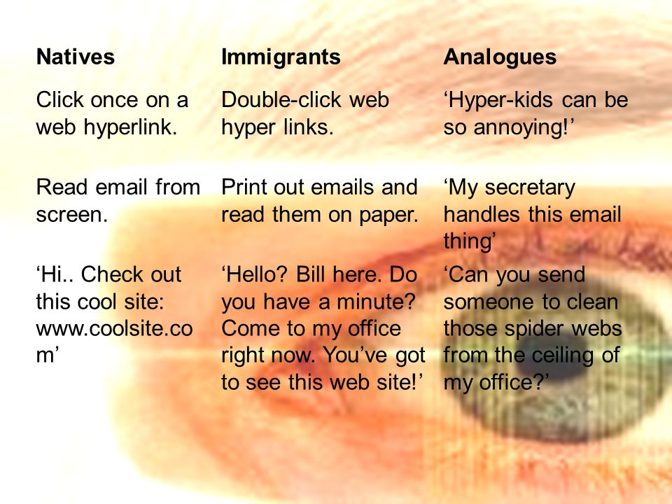 NativesImmigrantsAnalogues Click once on a web hyperlink.