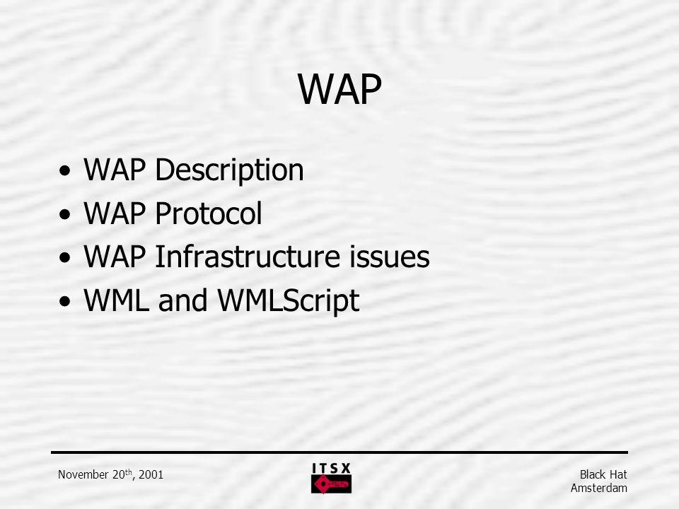 Black Hat Amsterdam November 20 th, 2001 WAP WAP Description WAP Protocol WAP Infrastructure issues WML and WMLScript