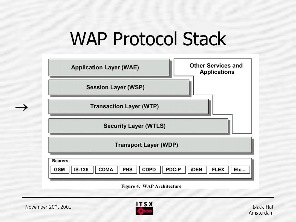 Black Hat Amsterdam November 20 th, 2001 WAP Protocol Stack