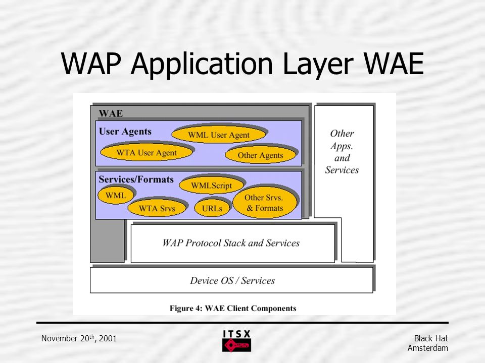 Black Hat Amsterdam November 20 th, 2001 WAP Application Layer WAE