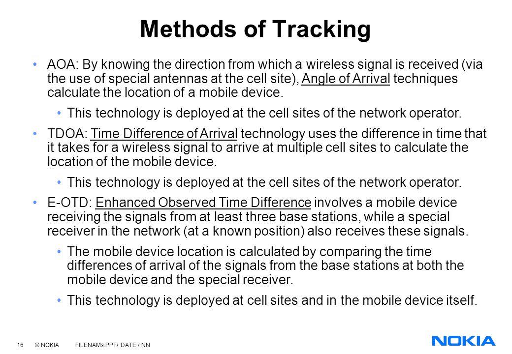 15 © NOKIA FILENAMs.PPT/ DATE / NN Surveillance & Tracking