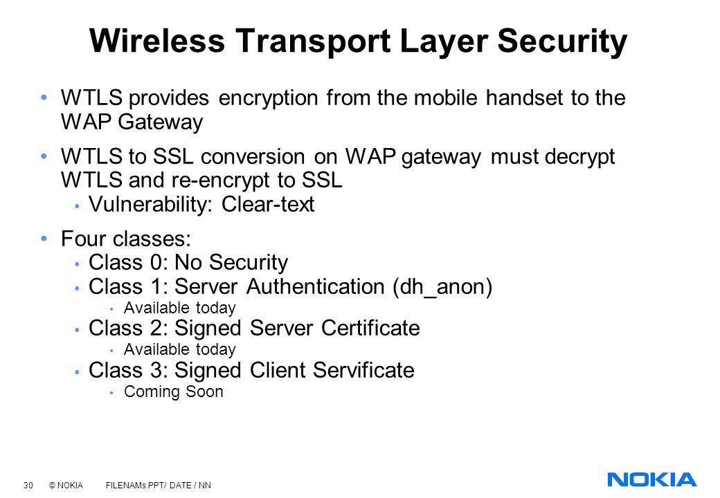 29 © NOKIA FILENAMs.PPT/ DATE / NN Common WAP Deployment Scenarios Mobile Customer Dial-in Server WAP Server/Gateway Content & Applications Server (s)