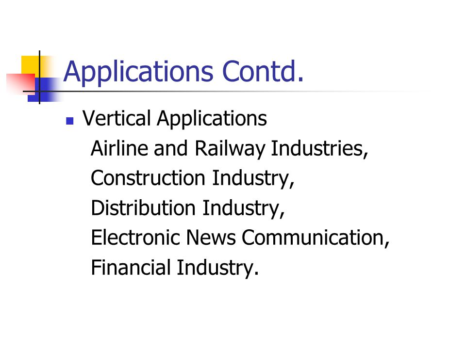Applications Contd. Vertical Applications Airline and Railway Industries, Construction Industry, Distribution Industry, Electronic News Communication,
