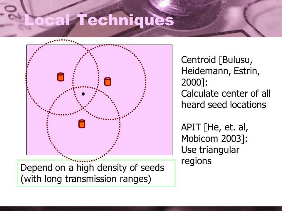 Local Techniques Centroid [Bulusu, Heidemann, Estrin, 2000]: Calculate center of all heard seed locations APIT [He, et.