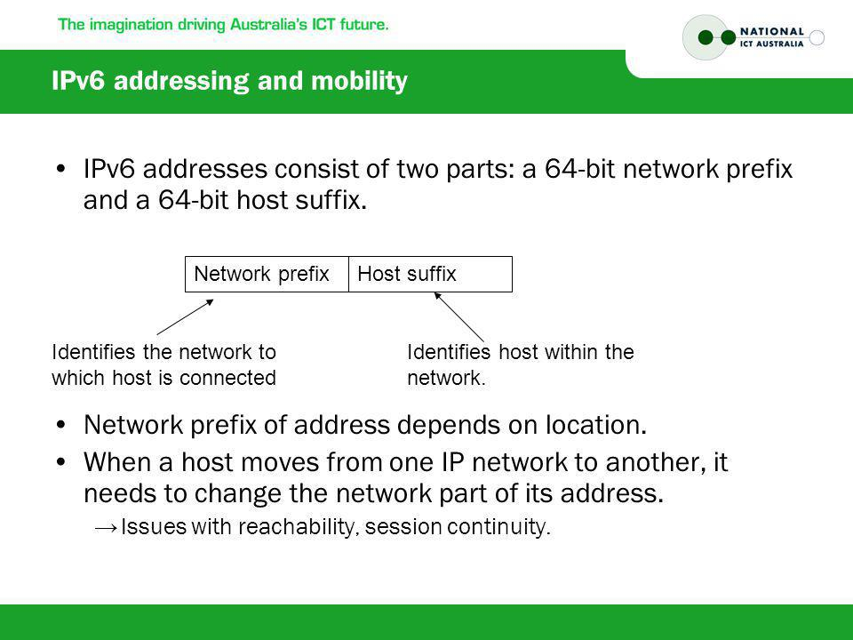 IPv6 addressing and mobility IPv6 addresses consist of two parts: a 64-bit network prefix and a 64-bit host suffix.