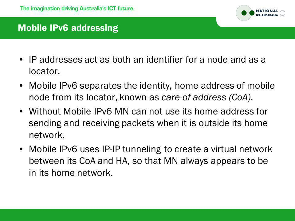 Mobile IPv6 addressing IP addresses act as both an identifier for a node and as a locator.