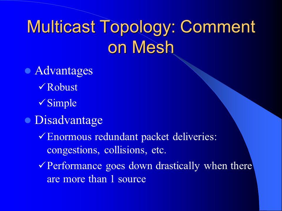 Multicast Topology: Comment on Mesh Advantages Robust Simple Disadvantage Enormous redundant packet deliveries: congestions, collisions, etc. Performa