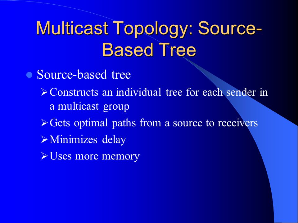 Multicast Topology: Source- Based Tree Source-based tree Constructs an individual tree for each sender in a multicast group Gets optimal paths from a source to receivers Minimizes delay Uses more memory