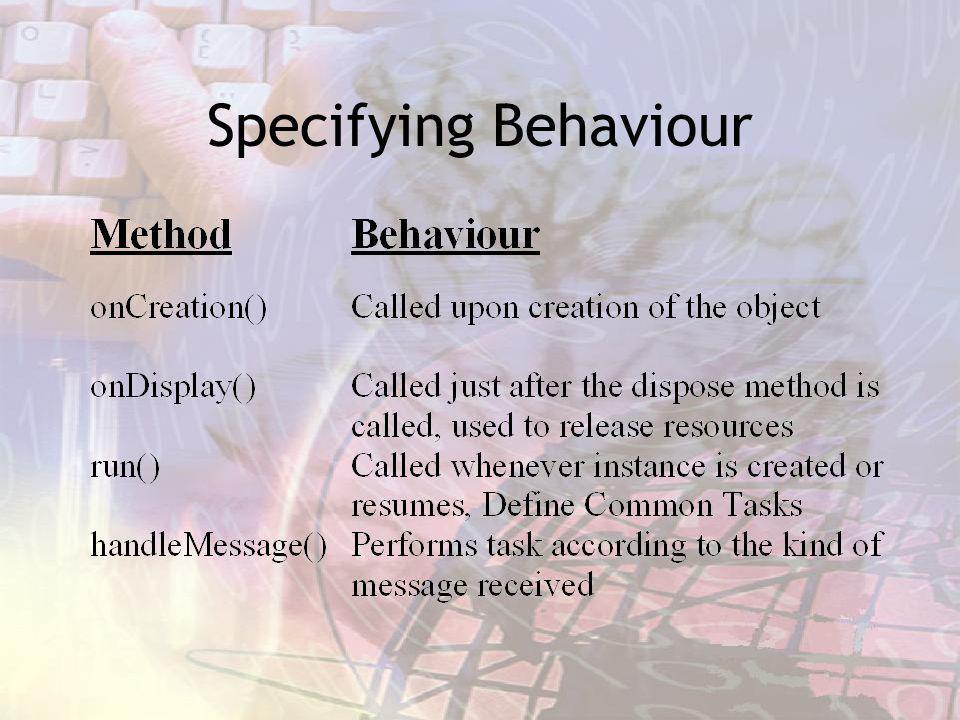 Specifying Behaviour