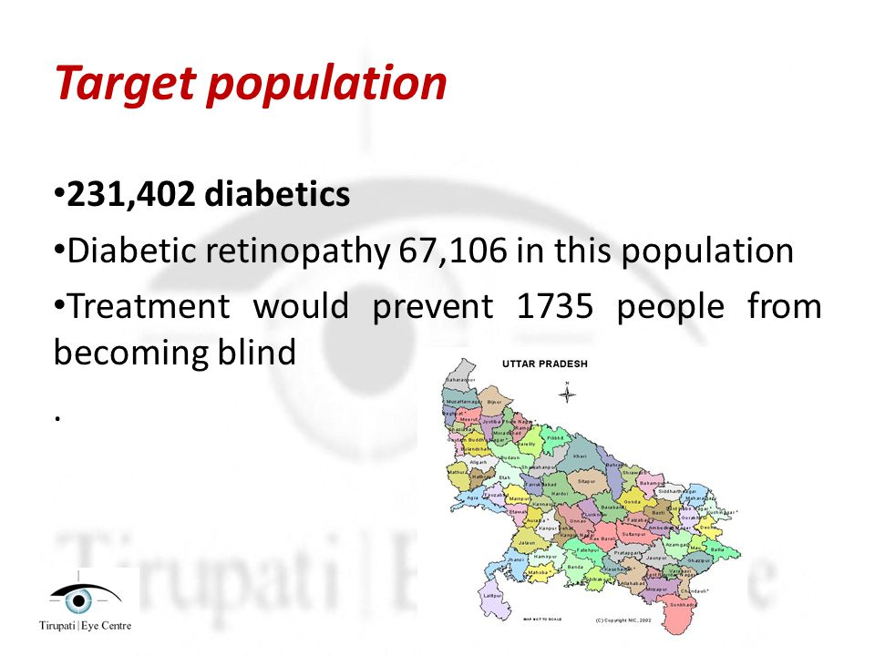 Target population 231,402 diabetics Diabetic retinopathy 67,106 in this population Treatment would prevent 1735 people from becoming blind.