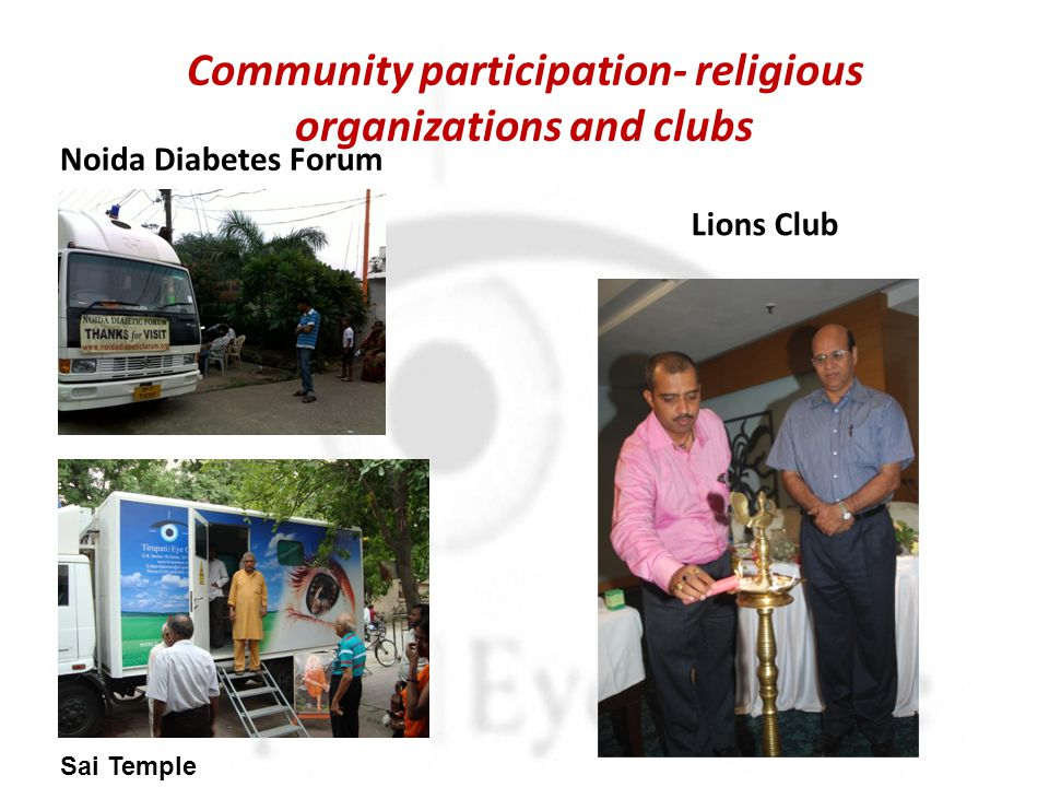 Community participation- religious organizations and clubs Noida Diabetes Forum Lions Club Sai Temple