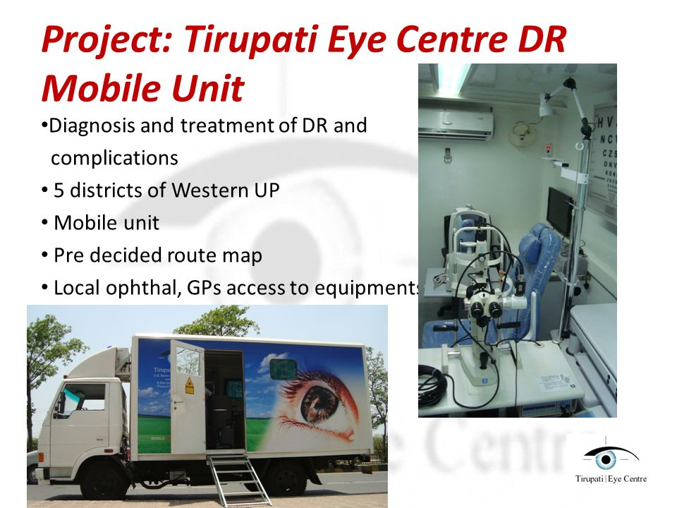Project: Tirupati Eye Centre DR Mobile Unit Diagnosis and treatment of DR and complications 5 districts of Western UP Mobile unit Pre decided route map Local ophthal, GPs access to equipments