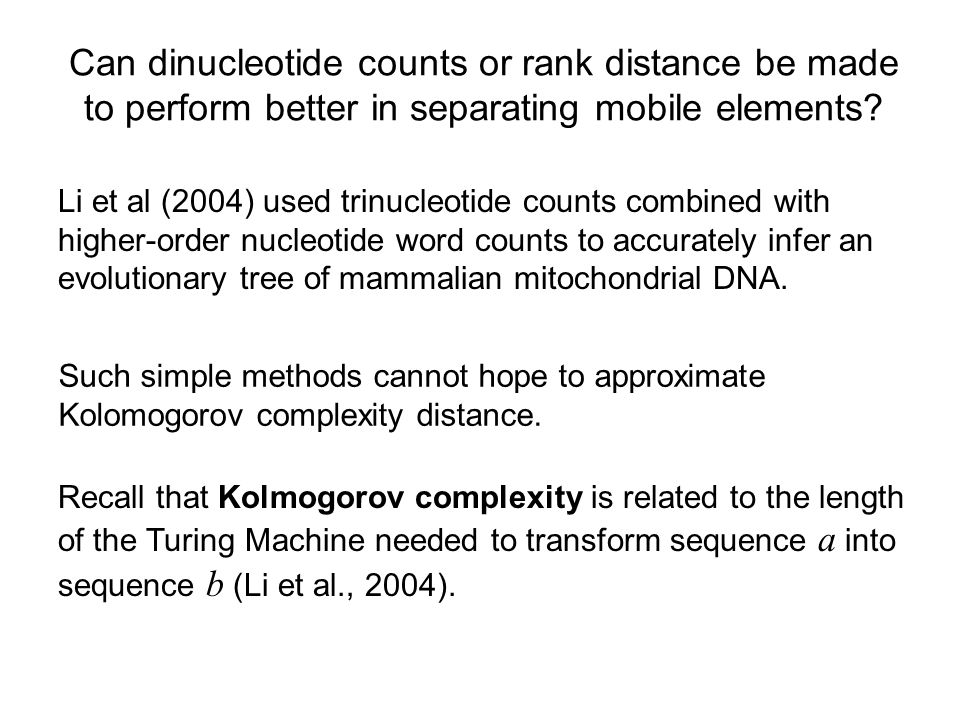 Can dinucleotide counts or rank distance be made to perform better in separating mobile elements.