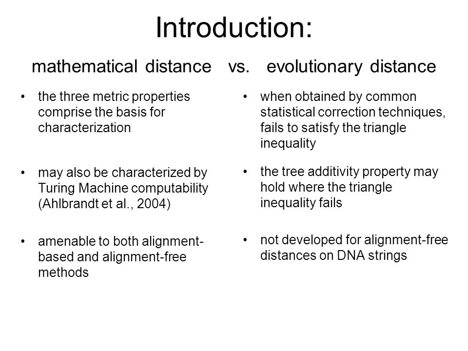 Introduction: mathematical distance vs.